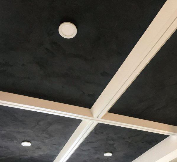 Velvet And White Movie Room Coffered Ceiling Ideas