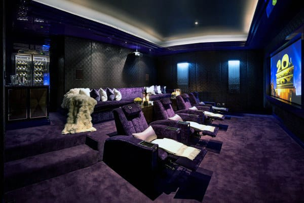 Velvet Basement Movie Room Design Ideas Purple Color