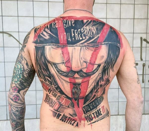 Vendetta Mask Trash Polka Mens Back Tattoos