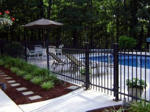 Vertical Bar Backyard Ideas For Pool Fence