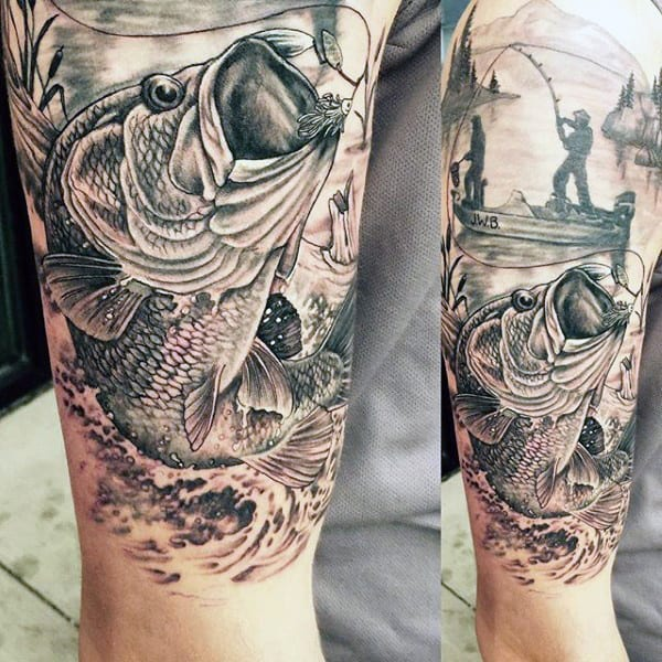 Very Detailed Fishing Bass Tattoo Black And White Linework On Man