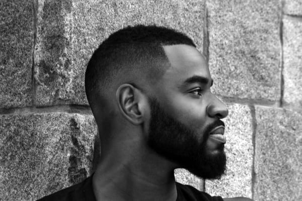 Very Short Haircut With Short Beard Style For Black Men