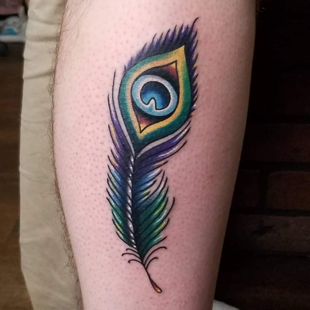 Vibrant Color Peacock Feather Tattoo