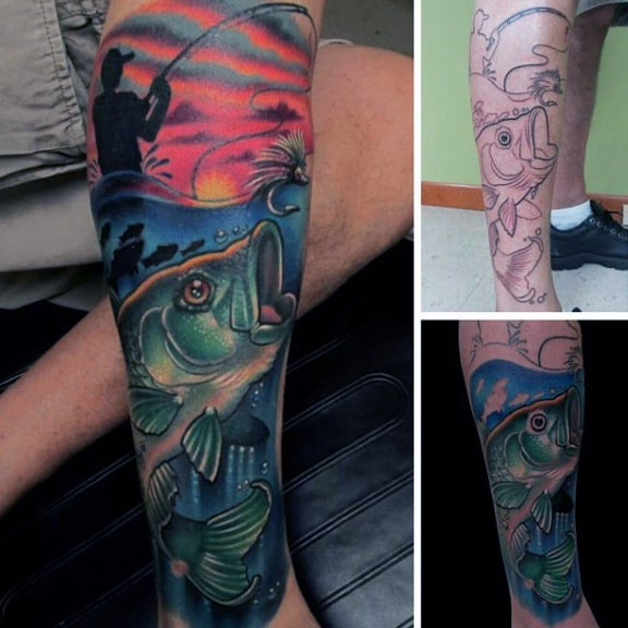 Vibrant Mens Halfsleeve Of Bass And Fisherman