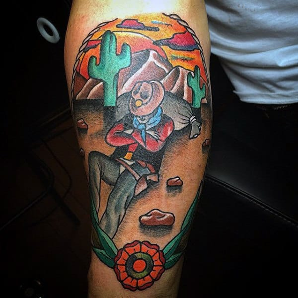 Vibrant Neo American Western Tattoo For Males With Cactus Cowboy Sailor Jerry