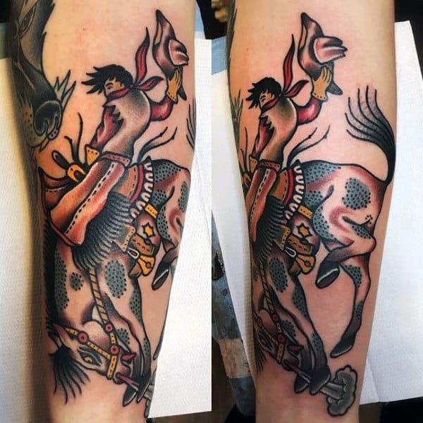 Vibrant Sailor Jerry Tattoo Of Cowboy Horseback Riding For Guys