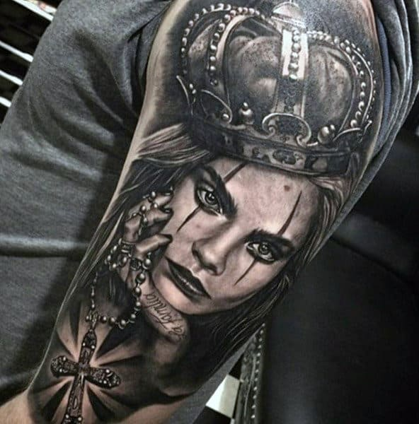 Vicious Lady With Crown And Cross Pendant Tattoo Arms For Men