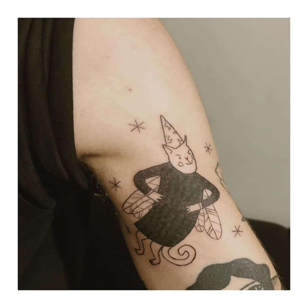 Victoria Cute Cat Fairy Tattoo