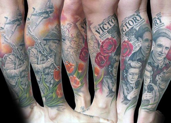 Victory Newspaper With Red Poppy Flower Ww2 Mens Leg Sleeve Tattoos