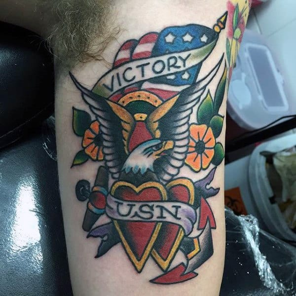 Victory Usn Mens Sailor Jerry Navy Bicep Tattoo