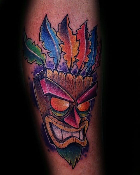 Video Game Aku Aku Crash Bandicoot Male Tattoos