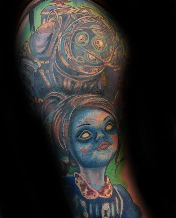 Video Game Bioshock Male Half Sleeve Tattoo Inspiration