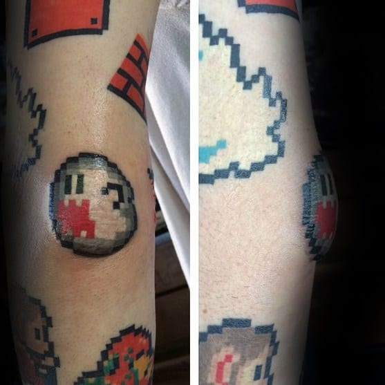 Video Game Ghoast 8 Bit Elbow Tattoos For Men