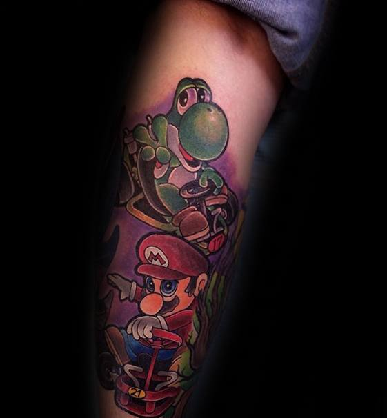 Video Game Yoshi With Mario Male Leg Sleeve Tattoos