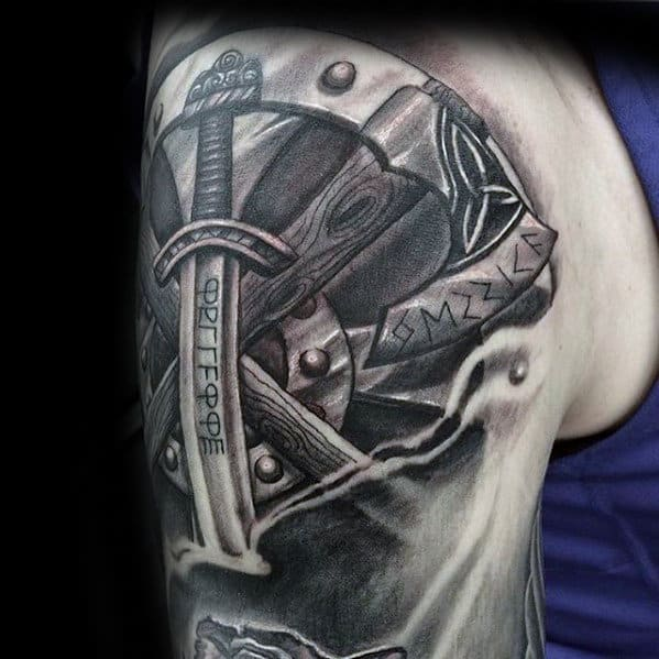 Viking Axe With Sword Mens 3d Shaded Arm Tattoo