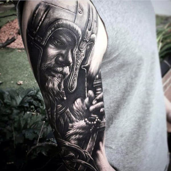 Viking Black Ink Realistic Guys Half Sleeve Tattoo Design Inspiration