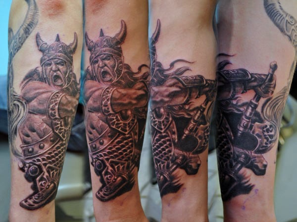 Viking Mythology Tattoos For Men On Outer Forearm
