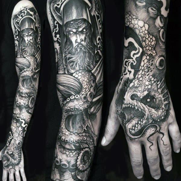 Viking Nice Mens Full Arm Shaded Sleeve Tattoos