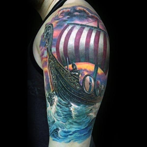 Viking Ship Cool Arm Tattoos For Guys