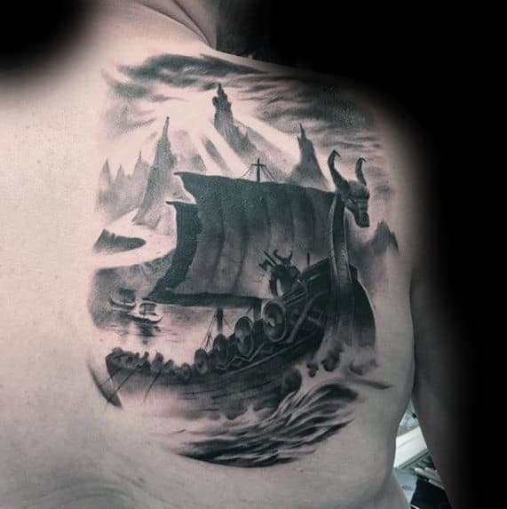 Viking Ship Mens Watercolor Cool Back Tattoo Ideas