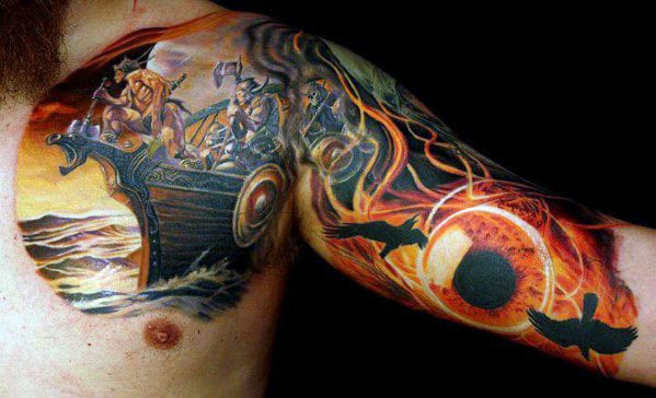 Viking Ship With Glowing Eye Sweet Inner Arm And Chest Tattoos For Guys