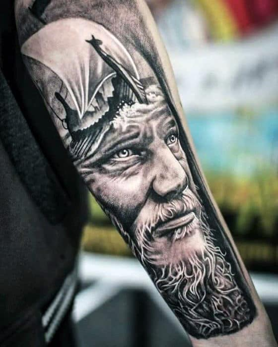 Viking Ship With Warrior Guys 3d Forearm Tattoo