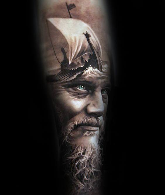 Viking Sleeve Guys Portrait Tattoos Ideas