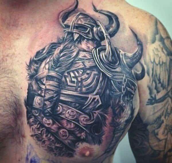 Viking Tattoo Art For Guys On Right Chest