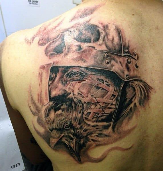 Viking Tattoo Symbols On Men On Back Shoulder Blade