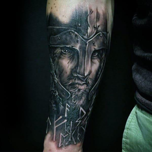 Viking Warrior Helmet Mens Rune Forearm Tattoo