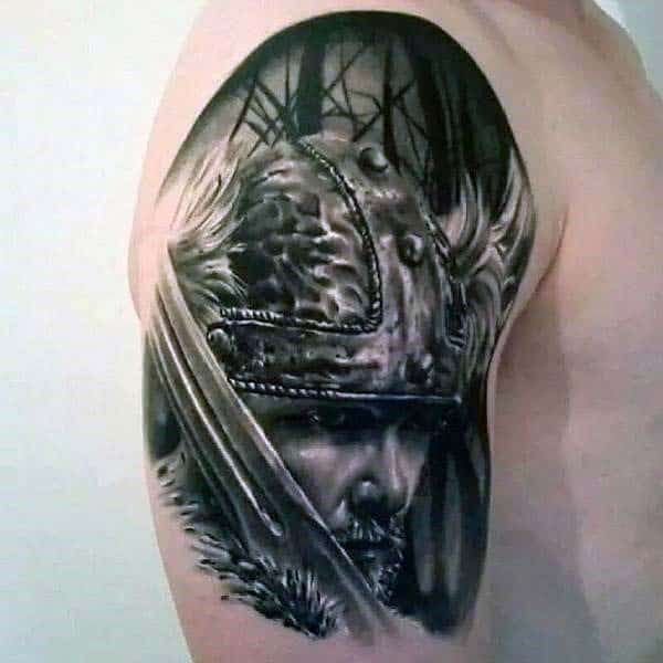 Viking Warrior Portrait Nice Mens Arm Tattoos