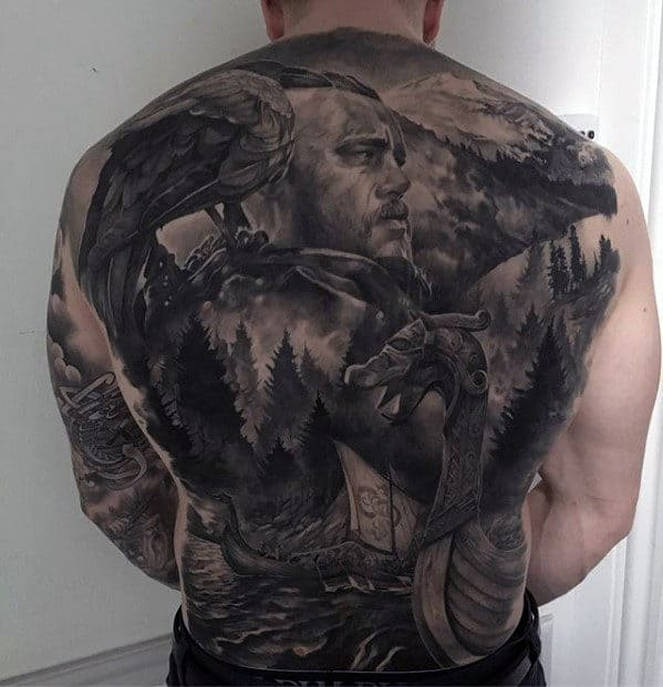 Viking Warrior With Nature Forest Mens Badass Back Tattoo
