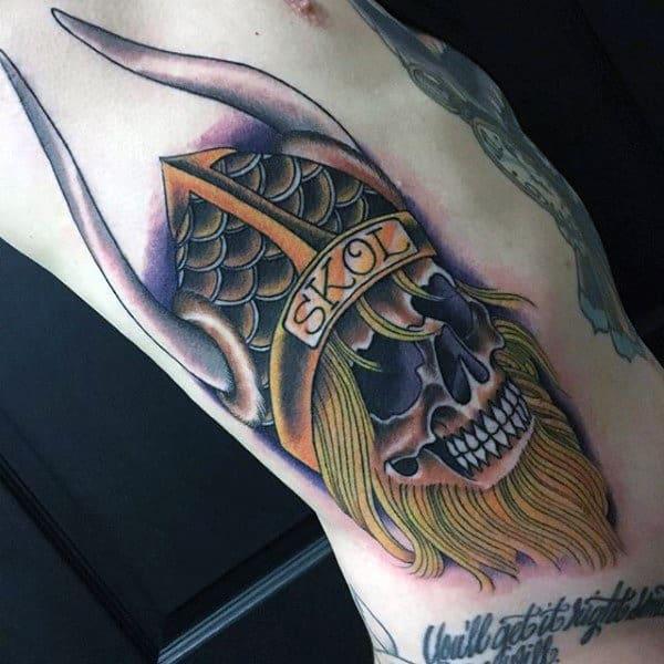 Vikings Guys Football Rib Cage Side Tattoo Designs