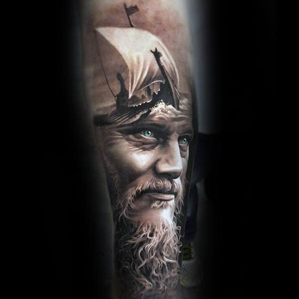 Vikings Inner Forearms Tattoo For Guys