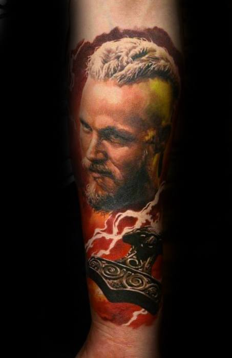 Vikings Mens Ragnar Forearm Thor Hammer Tattoo