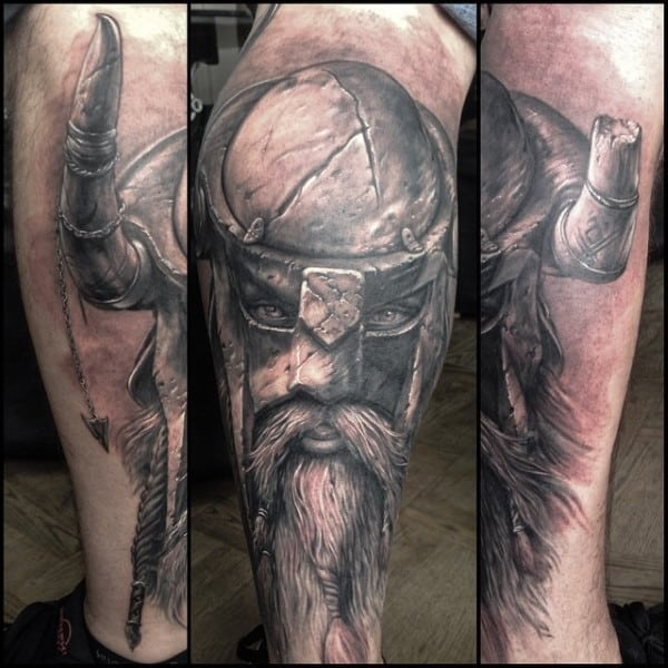Vikings Stone Male Tattoo Ideas On Leg