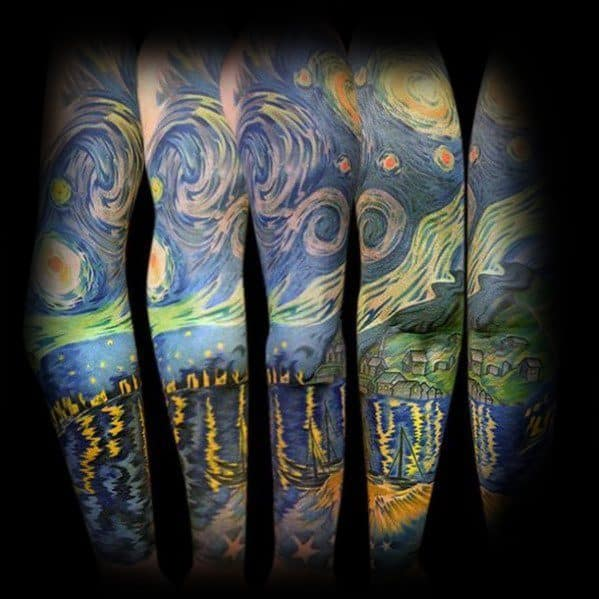 Vincent Van Gogh Painting Sleeve Tattoos For Men