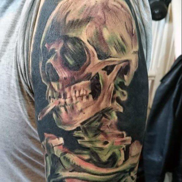 Vincent Van Gogh Skull Guys Sleeve Tattoos