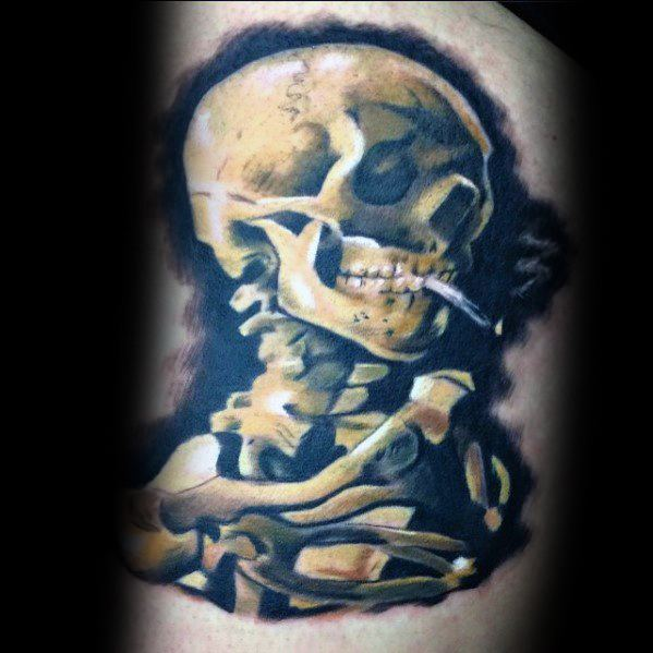 Vincent Van Gogh Skull Of A Skeleton With Burning Cigarette Mens Arm Tattoo