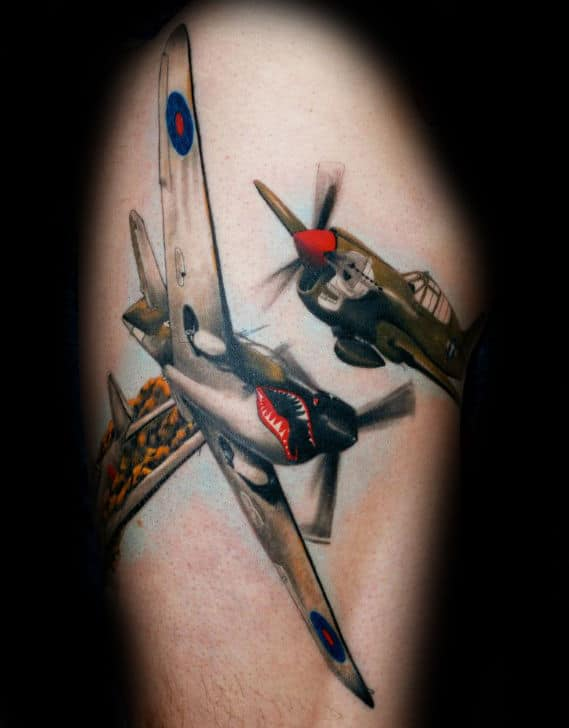 Vintage Aircraft Usaf Tattoos For Men On Thigh