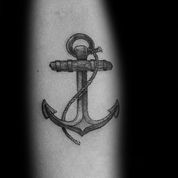 vintage anchor male small arm tattoo ideas