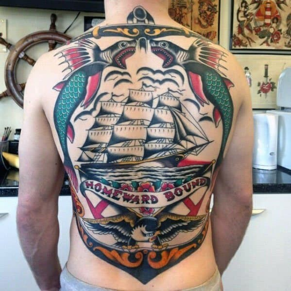 Vintage Anchor Sailing Ship Back Mens Tattoo Ideas