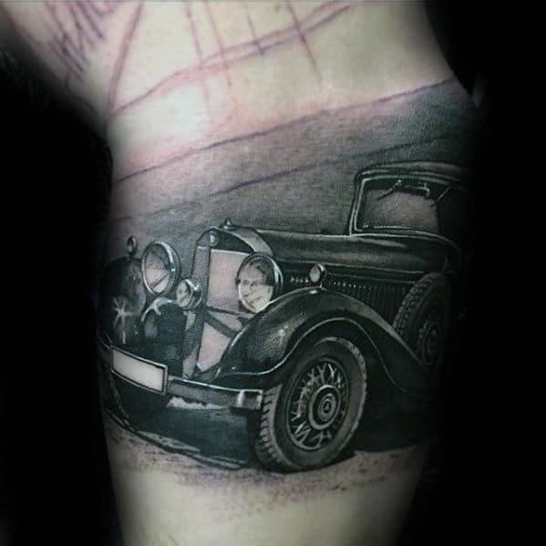 Vintage Automobile Hyper Realistic Mens Arm Tattoo