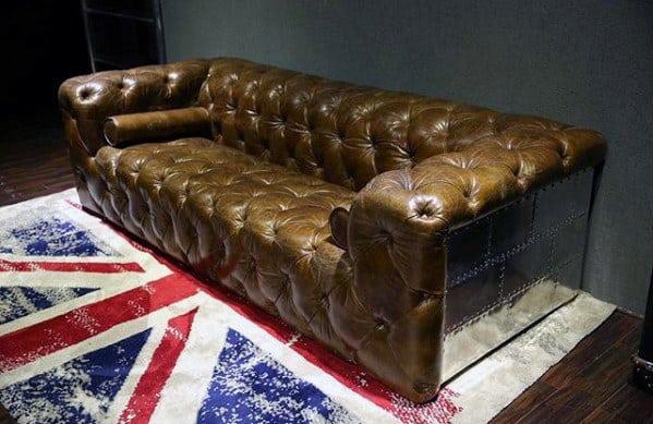 Vintage Bachelor Pad Furniture Leather And Aluminum Sofa