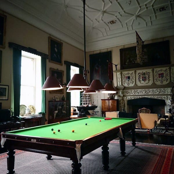 Vintage Billiards Room Ideas With Fireplace