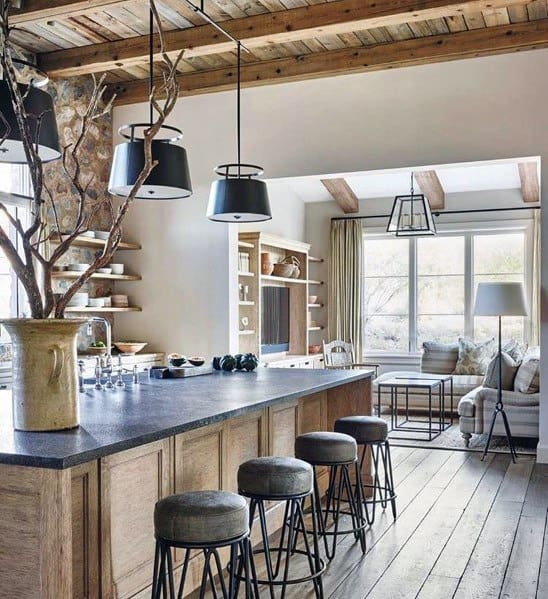 Vintage Black Metal Pendants Under Wood Ceiling Kitchen Island Lighting Home Ideas