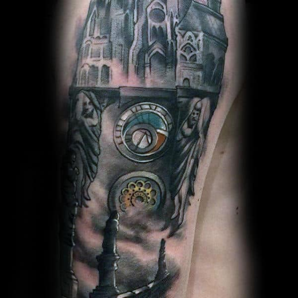 Vintage Building Shaded Mens Arm Tattoos