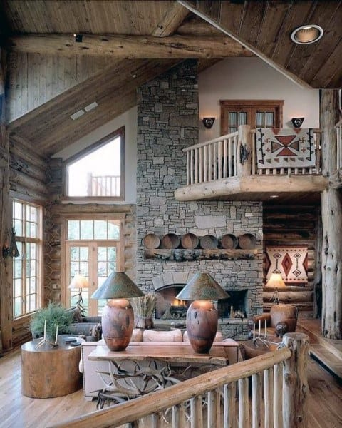 Vintage Cabin Rustic Living Room Ideas
