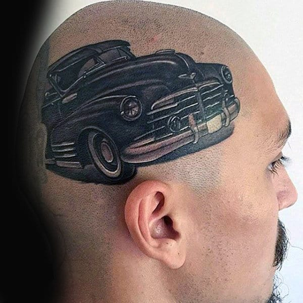 Vintage Car Mens Head Tattoo Designs