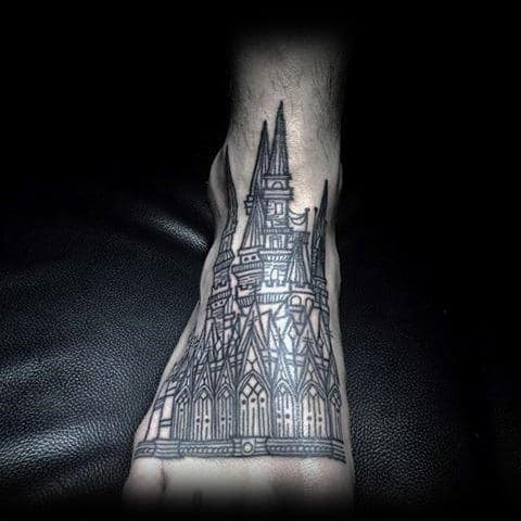 Vintage Castle Foot Tattoo For Men Outline Ink Style